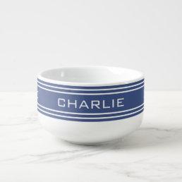 Marine Blue Stripes custom monogram soup mug