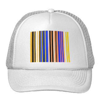 Marine blue yellow and white stripes mesh hats
