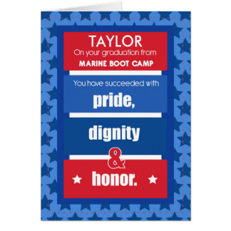 Marine Boot Camp Personalize Name Graduation Congr Card