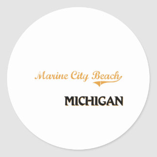 Marine City Beach Michigan Classic Classic Round Sticker