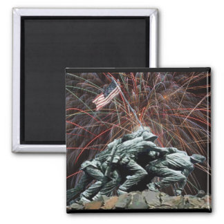 Marine Corp War Memorial with Fireworks 2 Inch Square Magnet
