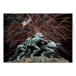 Marine Corp War Memorial with Fireworks Greeting Card