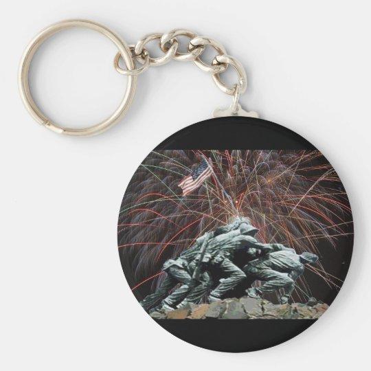 Marine Corp War Memorial with Fireworks Keychain