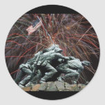 Marine Corp War Memorial with Fireworks Classic Round Sticker