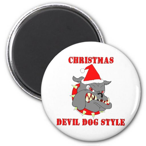 Marine Corps Christmas Devil Dog Style 2 Inch Round Magnet