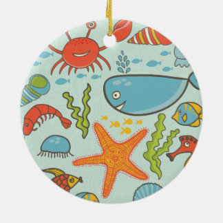 Marine Creature Pattern Ceramic Ornament