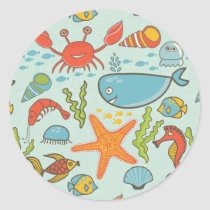 Marine Creature Pattern Classic Round Sticker