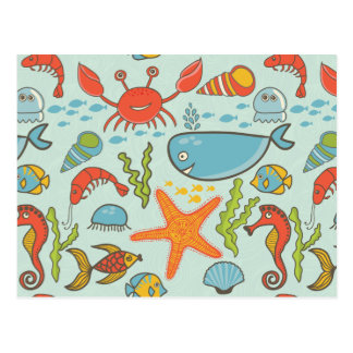Marine Creature Pattern Postcard