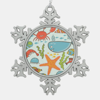 Marine Creature Pattern Snowflake Pewter Christmas Ornament