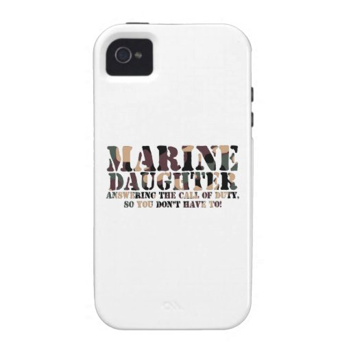 Marine Daughter Answering Call Vibe iPhone 4 Case
