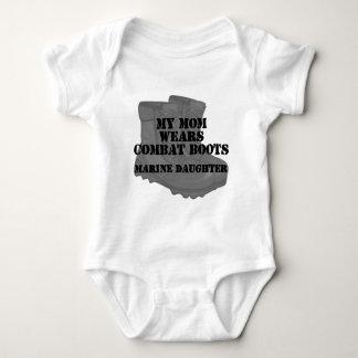 Marine Daughter Mom combat boots Baby Bodysuit