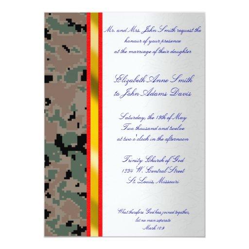Marine Digital Camouflage Wedding Invitation