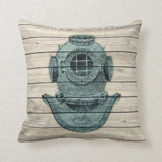 Marine Diver Vintage Style Wood Board Pillow