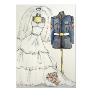 Marine enlisted uniform and wedding dress card