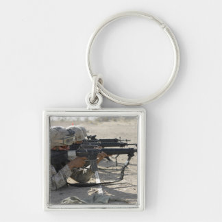 Marine fires their M16A2 service rifles Silver-Colored Square Keychain
