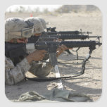 Marine fires their M16A2 service rifles Square Sticker