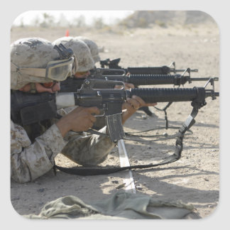 Marine fires their M16A2 service rifles Square Sticker