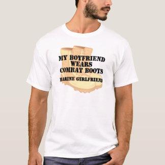 Marine Girlfriend Desert Combat Boots T-Shirt