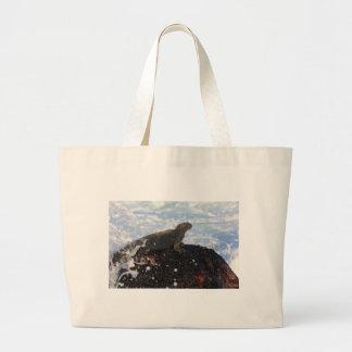 Marine iguana on rock Galapagos Islands Tote Bag