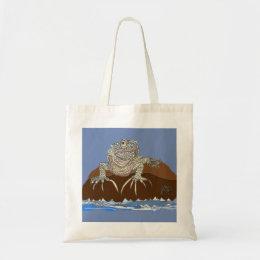 Marine Iguana on Rock with Hermit Crab Tote Bag