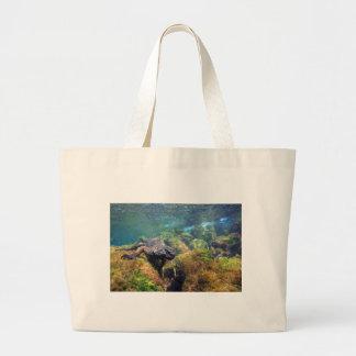 Marine iguana underwater Galapagos Islands Tote Bags