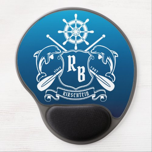 Marine Insignia Dolphins Helm Oars Shield Nautical Gel Mouse Pad