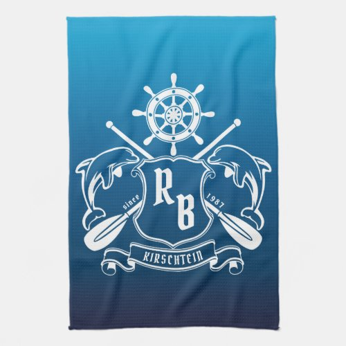 Marine Insignia Dolphins Helm Oars Shield Nautical Hand Towel