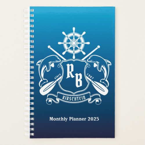 Marine Insignia Dolphins Helm Oars Shield Nautical Planner