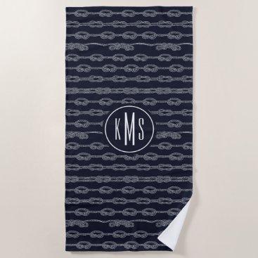 Beach Themed Marine Knots Pattern Beach Towel