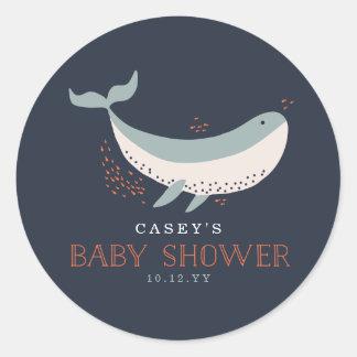 Marine Life Baby Shower Classic Round Sticker