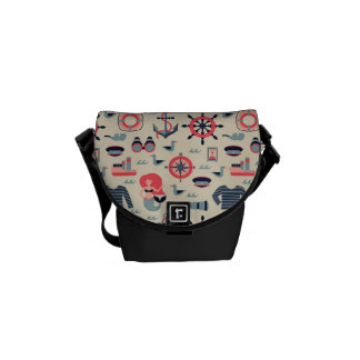 Marine Life Pattern Courier Bag