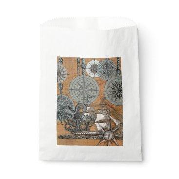 Beach Themed Marine Nautical Art Print Vintage Design Octopus Favor Bag