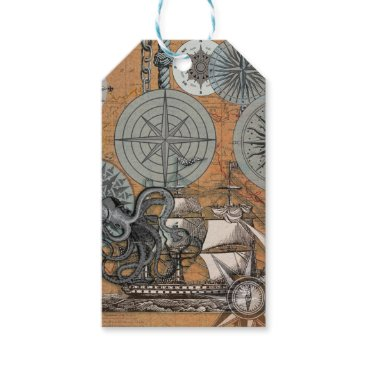 Beach Themed Marine Nautical Art Print Vintage Design Octopus Gift Tags