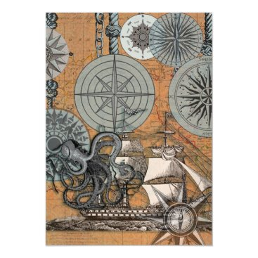 Beach Themed Marine Nautical Art Print Vintage Design Octopus Magnetic Card