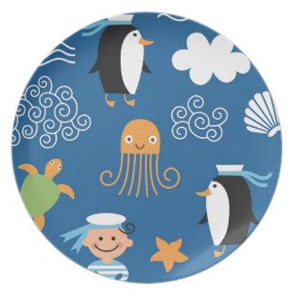 Marine Penguin Turtle  Wave Pattern Octopus Party Plates