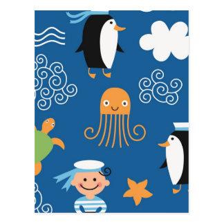 Marine Penguin Turtle  Wave Pattern Octopus Postcard