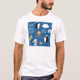 Marine Penguin Turtle  Wave Pattern Octopus T-Shirt