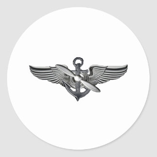 marine pilot wings classic round sticker