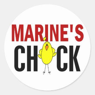 MARINE'S CHICK CLASSIC ROUND STICKER