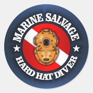 Marine Salvage Classic Round Sticker