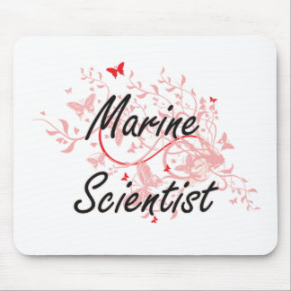 Marine Scientist Artistic Job Design with Butterfl Mouse Pad