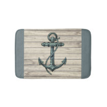 Marine Ship Anchor Vintage Wood Board Bath Mat