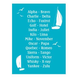 Marine Shipping Phonetic Language Boating Postcard
