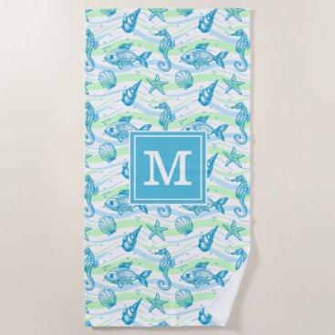 Beach Themed Marine Sketch Pattern Beach Towel