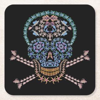Marine Skull and Crossbones Square Paper Coaster