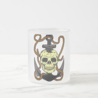 Marine Skull Tattoo Frosted Glass Coffee Mug