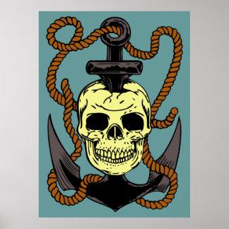 Marine Skull Tattoo Posters