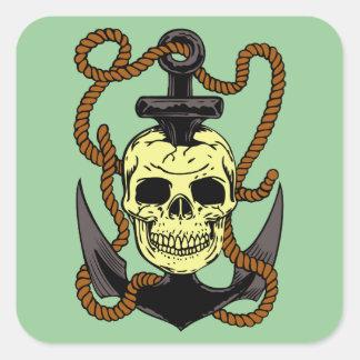 Marine Skull Tattoo Square Stickers