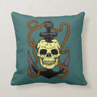 Marine Skull Tattoo Throw Pillow
