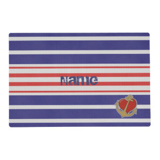 Marine Stripes with Anchor and Heart Laminated Placemat
